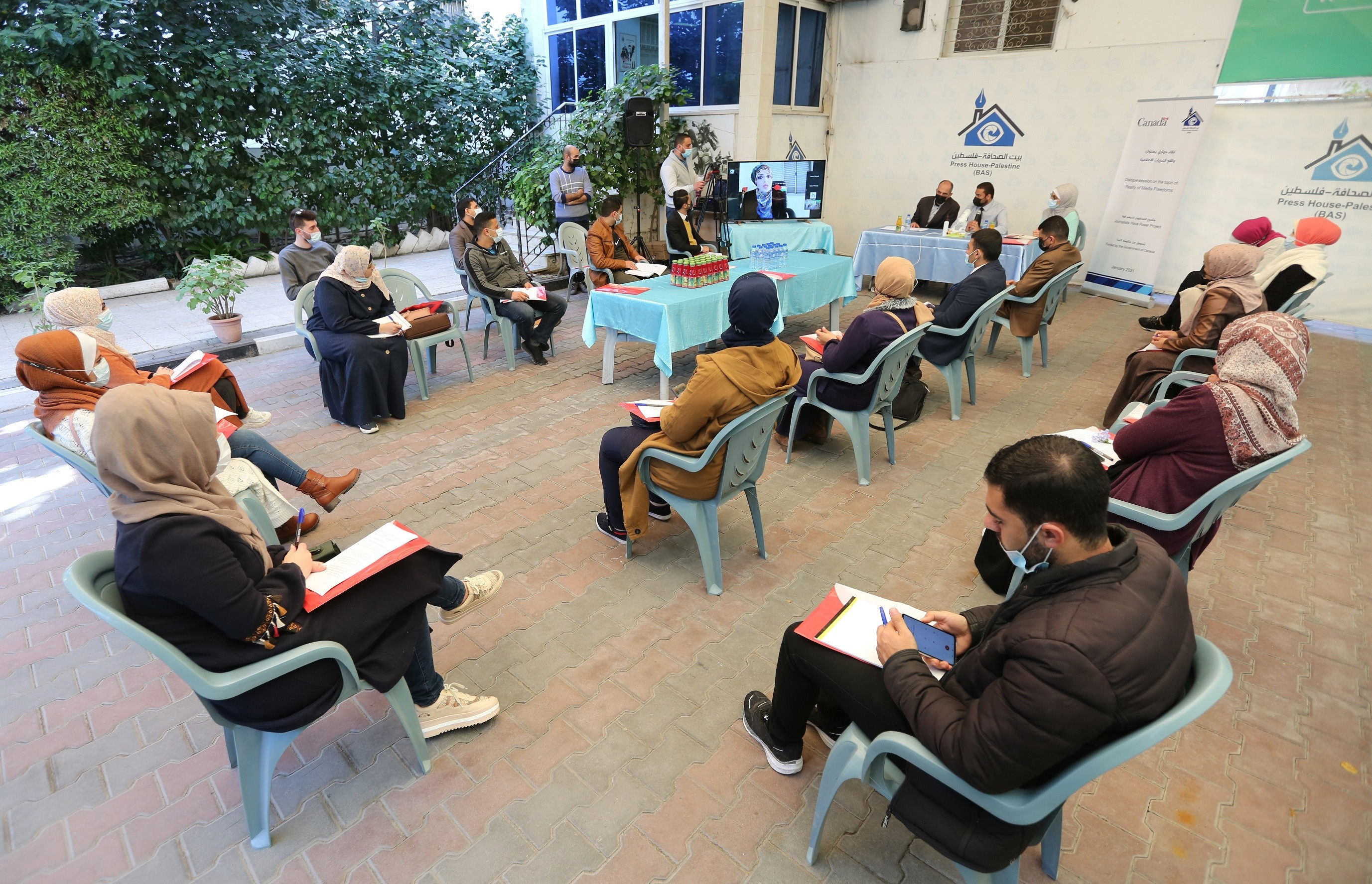 """Press House organizes a dialogue session to discuss the """"Reality of Media Freedoms in Palestine Report"""""""